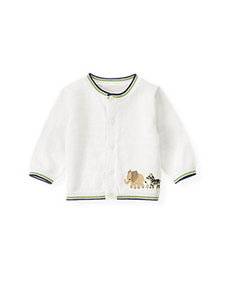 Baby Boy Pure White Safari Animal Cardigan at JanieandJack