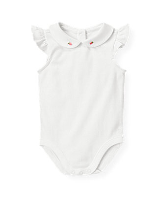Baby Girl Pure White Embroidered Collar Bodysuit at JanieandJack