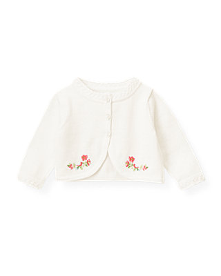 Baby Girl Pure White Hand-Embroidered Floral Crop Cardigan at JanieandJack