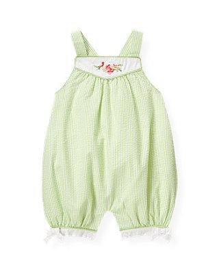 Baby Girl Foam Green Stripe Embroidered Seersucker Stripe Shortall at JanieandJack