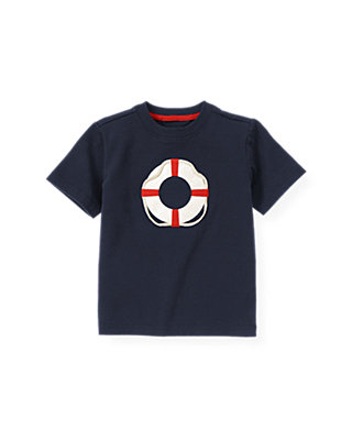 Boys Beachfront Navy Life Ring Tee at JanieandJack