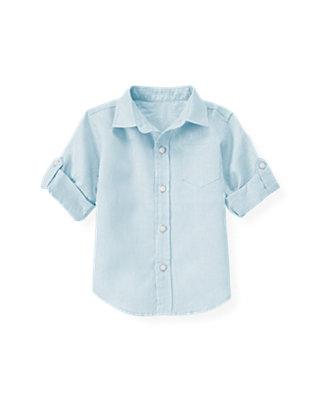 Skyway Blue Linen Roll Cuff Shirt at JanieandJack