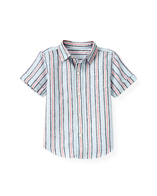 Skyway Blue Stripe Stripe Linen Blend Shirt at JanieandJack