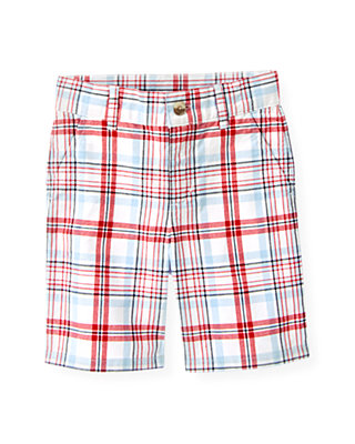 Boys Skyway Blue Plaid Plaid Canvas Short at JanieandJack