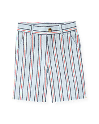 Boys Skyway Blue Stripe Stripe Linen Blend Short at JanieandJack