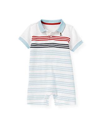 Boys Skyway Blue Stripe Polo Stripe One-Piece at JanieandJack