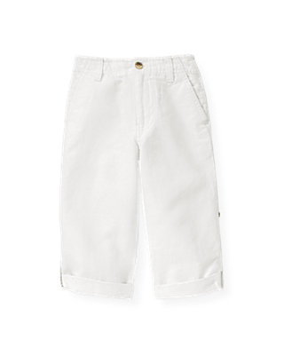 Boys Pure White Linen Blend Roll Cuff Pant at JanieandJack