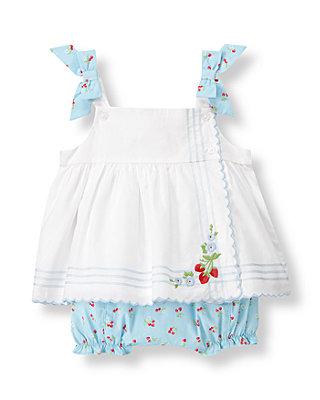 Baby Girl White/Strawberry Floral Strawberry Apron Ensemble at JanieandJack
