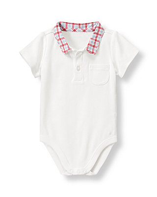 Baby Boy Pure White Plaid Collar Bodysuit at JanieandJack