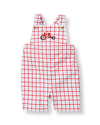 Baby Boy Tricycle Red Plaid Tricycle Plaid Shortall at JanieandJack