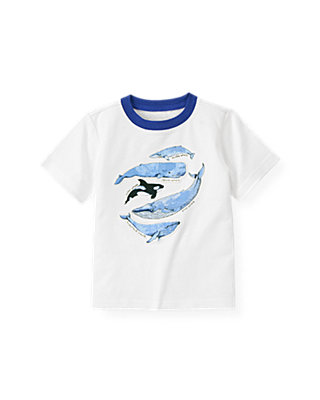 Boys Pure White Whales Tee at JanieandJack