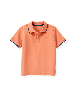 Boys Bleached Coral Lobster Tipped Polo Shirt at JanieandJack