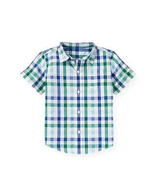 Boys Cobalt Blue Check Checked Seersucker Cuff Shirt at JanieandJack