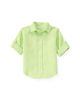 Sea Glass Green Linen Roll Cuff Shirt at JanieandJack
