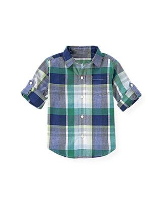 Cobalt Blue Plaid Madras Plaid Roll Cuff Shirt at JanieandJack