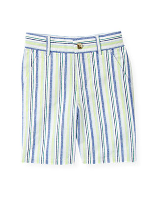Boys Sea Glass Green Stripe Stripe Linen Blend Short at JanieandJack