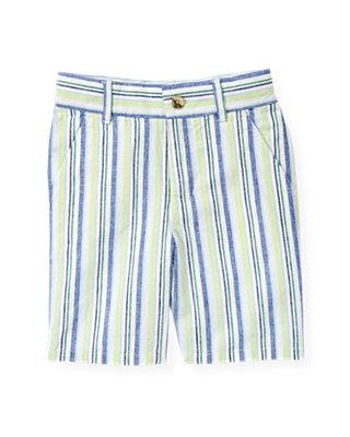 Boys Sea Glass Green Stripe Stripe Linen Blend Short at JanieandJack