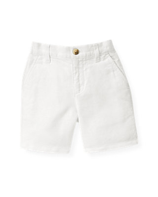 Boys White Linen Blend Short at JanieandJack