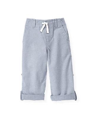Boys Sunbleached Blue Stripe Roll Cuff Pant at JanieandJack