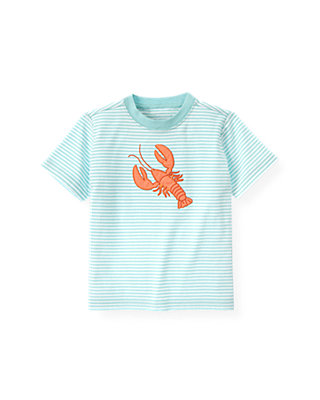 Boys Seaside Aqua Stripe Lobster Stripe Tee at JanieandJack