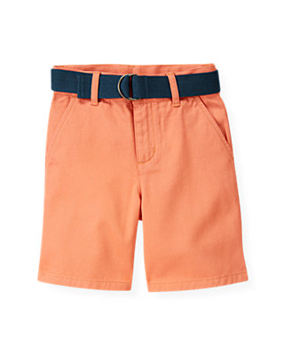 Boys Bleached Coral Belted Twill Short at JanieandJack