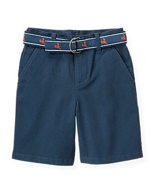 Boys Washed Navy Lobster Belted Short at JanieandJack