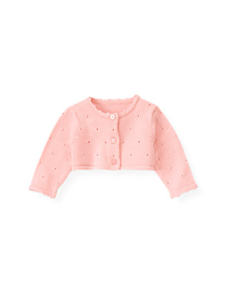 Baby Girl Pink Candy Pointelle Crop Cardigan at JanieandJack