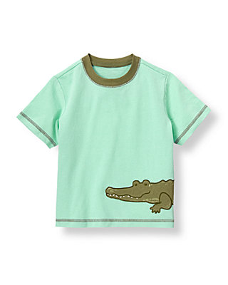 Boys Green Palm Alligator Tee at JanieandJack