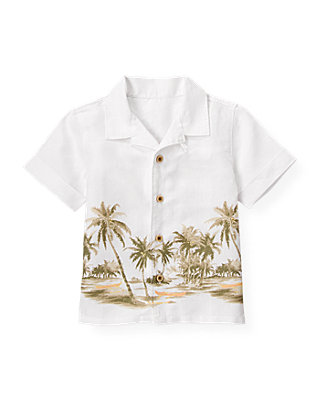 Pure White Palm Linen Shirt at JanieandJack