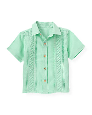Green Palm Pintucked Linen Shirt at JanieandJack