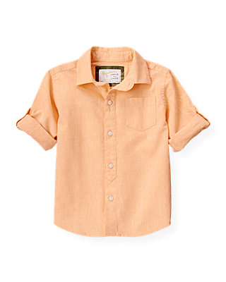 Tropic Orange Linen Roll Cuff Shirt at JanieandJack
