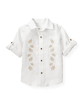 Pure White Embroidered Linen Shirt at JanieandJack