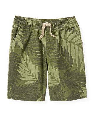 Boys Olive Green Palm Ripstop Short at JanieandJack
