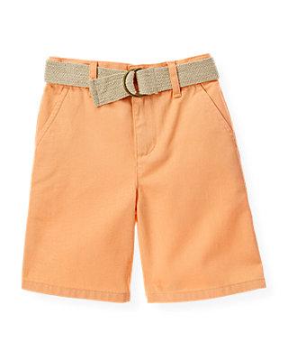 Boys Tropic Orange Belted Twill Short at JanieandJack