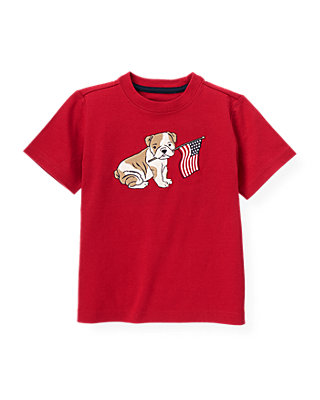 Boys American Red Bulldog Puppy Flag Tee at JanieandJack