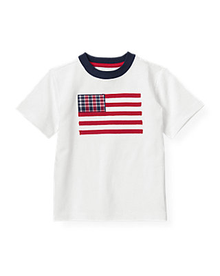 Boys Pure White American Flag Tee at JanieandJack