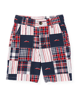 Boys American Navy Patchwork Embroidered Car Patchwork Short at JanieandJack