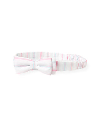 Pink Candy Stripe Dobby Stripe Headband at JanieandJack