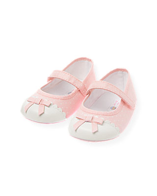 Baby Girl Pink Candy Dot Scalloped Dot Crib Shoe at JanieandJack