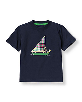 Boys Classic Navy Sailboat Tee at JanieandJack
