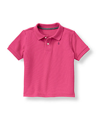 Boys Magenta Anchor Polo Shirt at JanieandJack