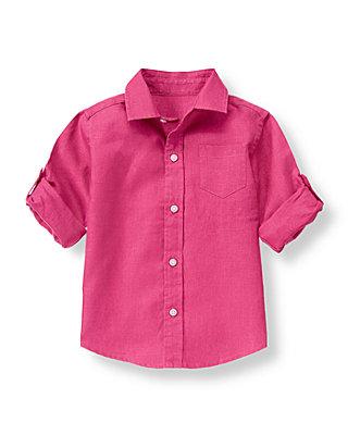 Magenta Linen Roll Cuff Shirt at JanieandJack