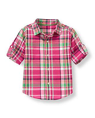 Magenta Plaid Madras Plaid Roll Cuff Shirt at JanieandJack