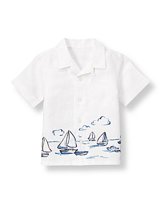 Pure White Sailboat Linen Shirt at JanieandJack