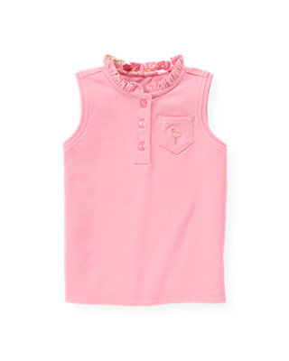 Flamingo Pink Sleeveless Polo Top at JanieandJack