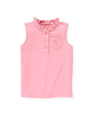 Flamingo Pink Sleeveless Polo Top at JanieandJack