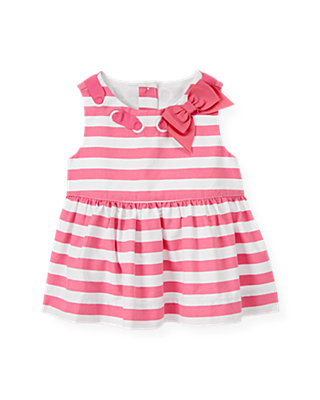 Flamingo Pink Stripe Interlaced Bow Stripe Tank at JanieandJack