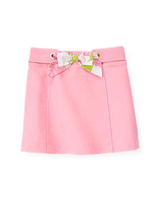 Flamingo Pink Floral Sash Ponte Skirt at JanieandJack