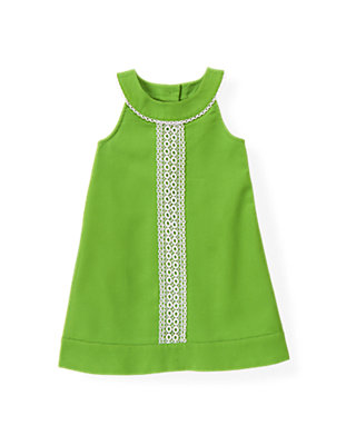 Palm Green Lace Trim Pique Dress at JanieandJack