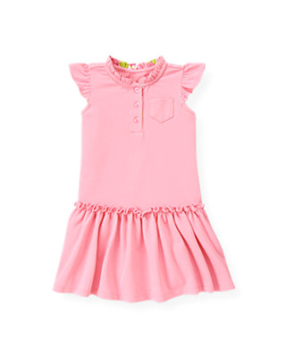 Flamingo Pink Ruffle Polo Dress at JanieandJack